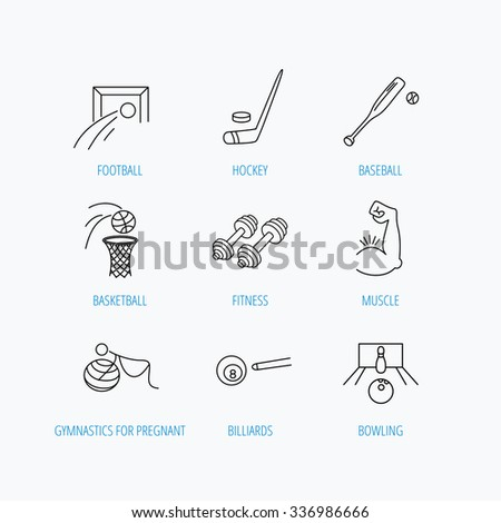 Football, ice hockey and fitness sport icons. Basketball, muscle and bowling linear signs. Billiards and gymnastics for pregnant icons. Linear set icons on white background. - stock vector