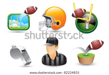 Football icons and equipment on white background - stock vector