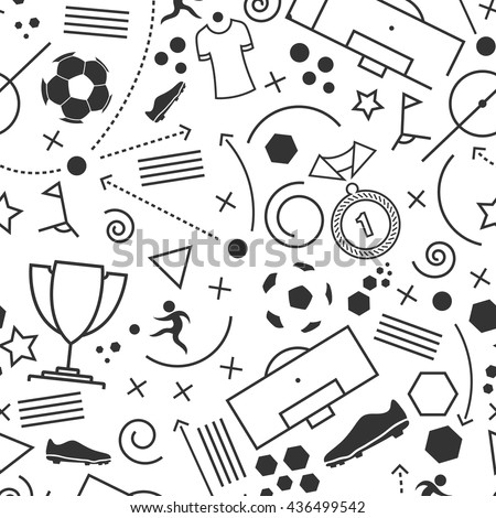 Football icons set. Vector illustration of abstract seamless soccer wallpaper pattern for your design - stock vector