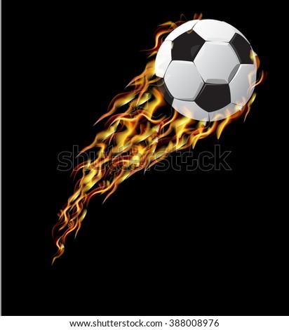 Football in fire. Soccer ball in fire flies. - stock vector