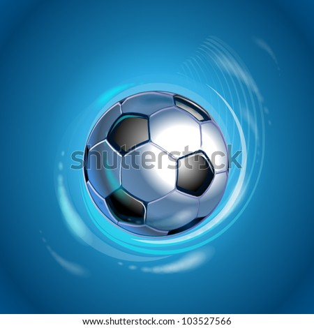 football in the blue shining circle - stock vector