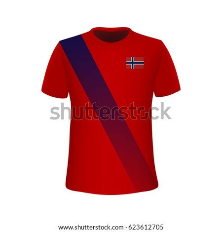 football kit norway flag tshirt template stock vector 623612705