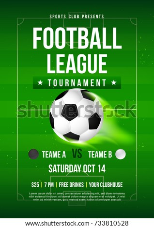 football league tournament flyer invitation vector illustration soccer ball on football pitch background