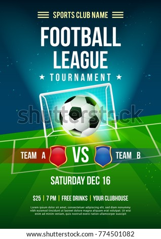 Football League Tournament Poster Vector Illustration Ball With Pitch Background