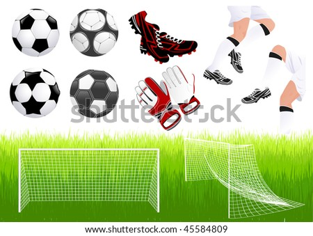 Football objects, vector illustration - stock vector