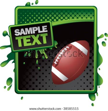 football on grunge style splat background - stock vector