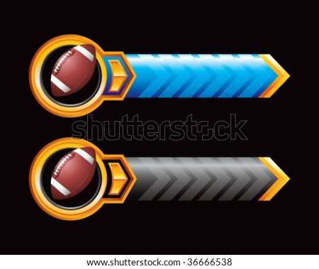 football on royal horizontal banners - stock vector
