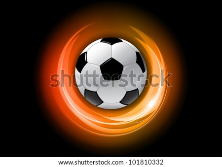 football on the red abstract background