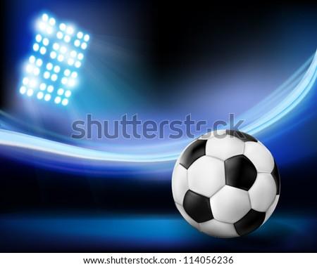 Football on the stadium. Vector illustration. - stock vector