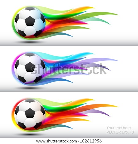 Football  or soccer ball in color flames banner - stock vector
