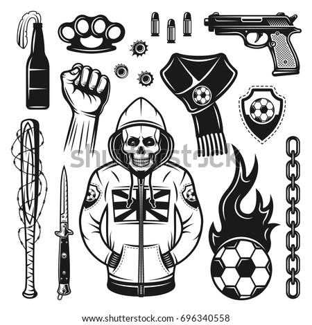 football soccer hooligans bandits attributes set stock
