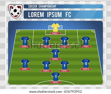 Football soccer starting lineup editable arrangement stock vector football or soccer starting lineup with editable arrangement of players vector illustration pronofoot35fo Gallery