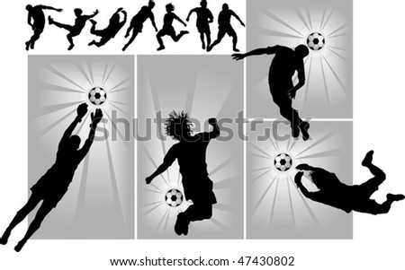 football player attack gate of the opponent (vector) - stock vector