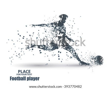 Football player, kick a ball, particle divergent composition, vector illustration