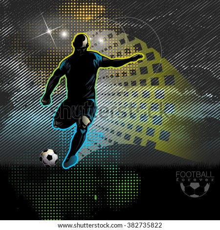 Football player shoots the ball - stock vector