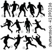 football player silhouettes - vector - stock vector