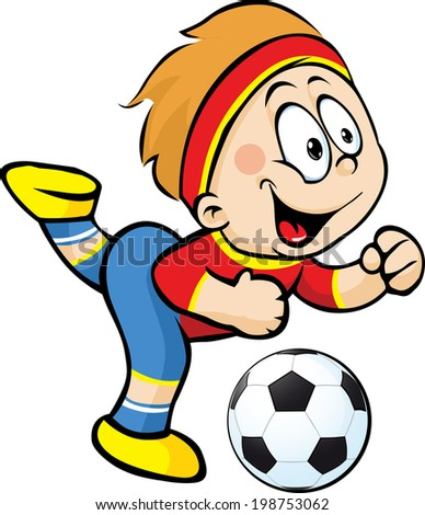 Football player with ball in action - vector illustration - stock vector