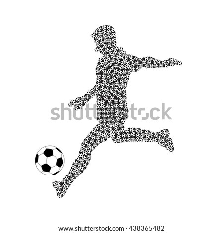 Football player with soccer ball vector silhouette. Sport game, goal and competition, action athlete. Vector illustration - stock vector