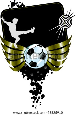 football players plays football on a black background - stock vector