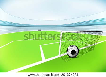 football playground scene with goal score with blue sky vector