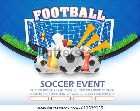 Football Poster Event Info Postcard Design Stock Vector 619539035 ...