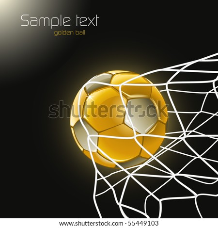 Football poster with a gold ball. Goal!!! - stock vector