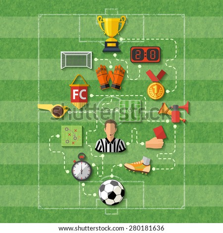 Football Poster with Flat style icons such as soccer ball, referee, trophy, red card. Can be used for flyer, poster and printing advertising. Vector Illustration. - stock vector