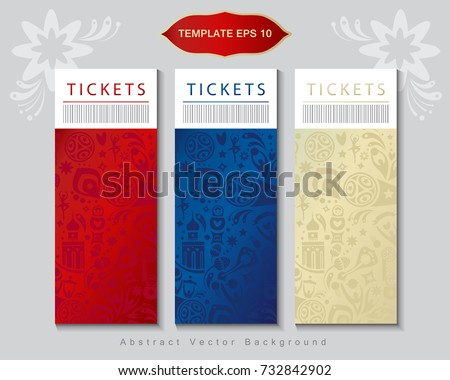 Football 2018 Russia World Cup Tickets template Abstract football tournament concept design banner background, dynamic texture Vector world cup competition Championship soccer Russian folk art pattern
