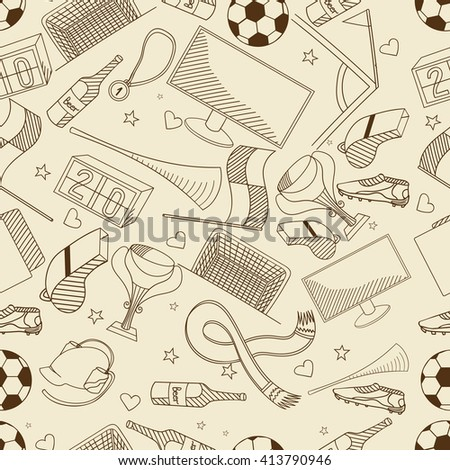 Football seamless retro line art design vector illustration. Separate objects. Hand drawn doodle design elements.