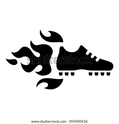football shoes and fire icon. Vector illustration.