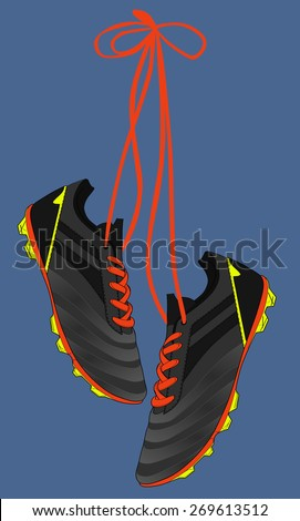 football shoes, soccer boots, vector - stock vector