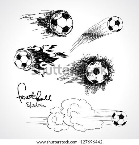 Football sketch - stock vector