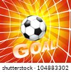 Football (soccer) ball in a net. Goal - stock vector