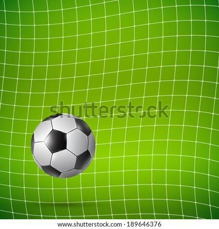 Football Soccer ball in goal on green, Vector realistic illustration. - stock vector