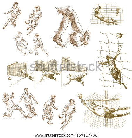 FOOTBALL - Soccer. Collection of an hand drawn illustrations on white background. - stock vector