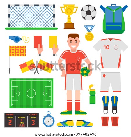 Football soccer icons Football soccer player trophy icons and football soccer competition web game icons. Football soccer team score win play. Flat design football soccer icons sport vector. - stock vector