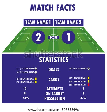 Football Soccer Match Statistics. Scoreboard and play field.Digital background , stock vector illustration. Infographic