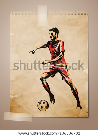 Football, Soccer Player Sketch on Aged Note Paper | EPS10 Vector Background | Layers Organized and Named - stock vector