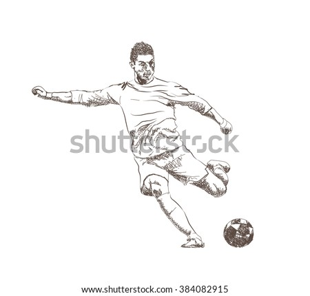 Football Soccer Player Sketch Ball Isolated Stock Vector 384082915 - Shutterstock