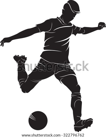 Football (soccer) player with ball, isolated on white. Vector silhouette - stock vector