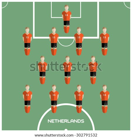 Football Soccer Players isolated on the Playfield. Computer game Football Club Playground. Digital background vector illustration. - stock vector