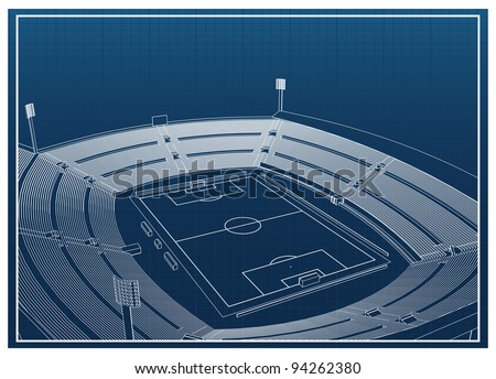 Football - soccer stadium 3d model - stock vector