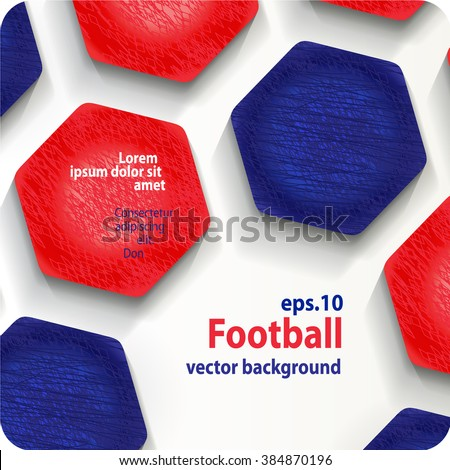 football (soccer) vector background in the colors of the France flag, cover. Eps10. - stock vector