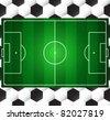 Football soccer vector field on seamless ball texture - stock vector