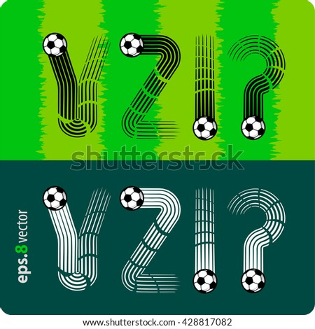 """Football (soccer) vector set of letters """"Y"""",""""Z"""", exclamation mark, question mark in the form of splines flight a soccer ball.eps8 - stock vector"""
