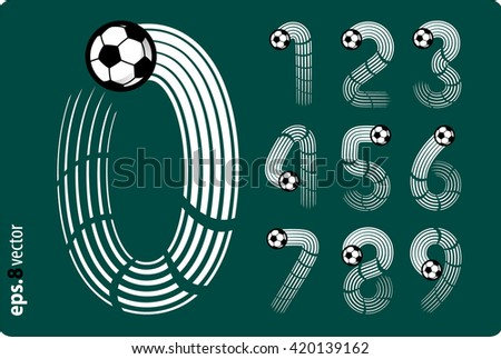 Football (soccer) vector set of numbers in the form of splines flight a soccer ball. Zero 0 One 1 Two 2 Three 3 Four 4 Five 5 Six 6 Seven 7 eight 8 nine 9. eps8