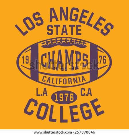 Football sport Los Angeles typography, t-shirt graphics, vectors - stock vector