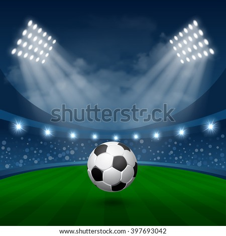 Football Sport Poster with Flying Soccer Ball in Spotlights on Stadium. Realistic Vector Illustration.  - stock vector