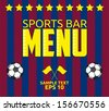Football - Sports Bar Menu card design template - eps10  - stock vector