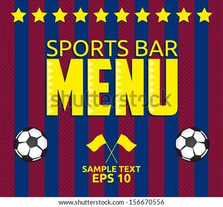 Football - Sports Bar Menu card design template - eps10  - stock vector
